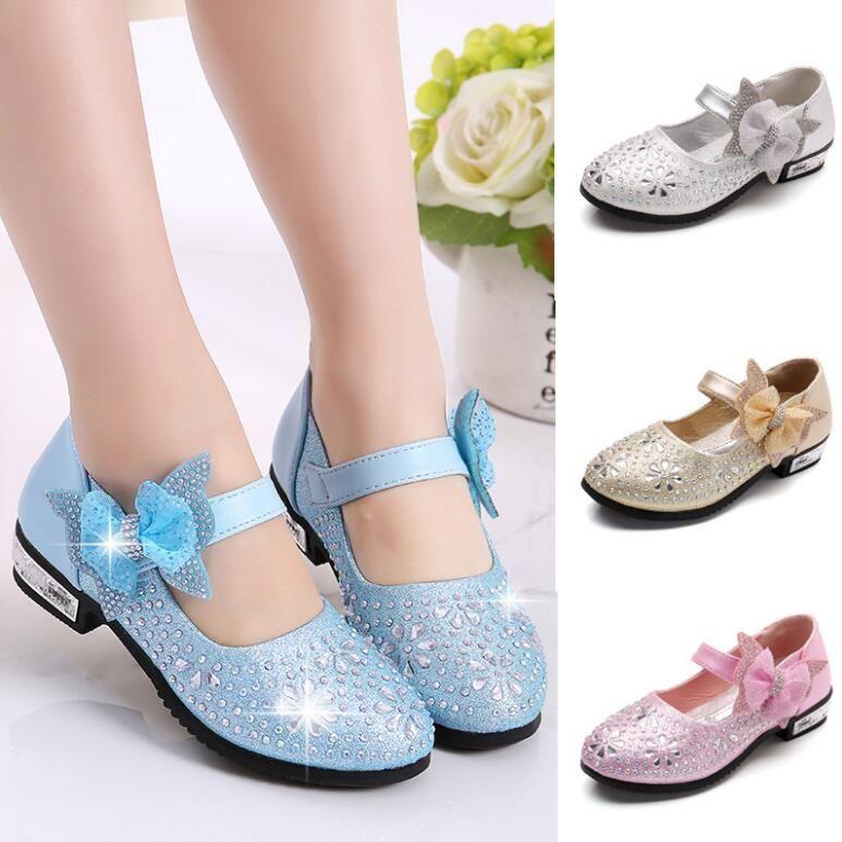 Moda scintillante per bambini Scarpe da sposa per ragazze 2018 Scarpe per principesse ragazze Arco coreano caldo Scarpe col tacco alto GA199