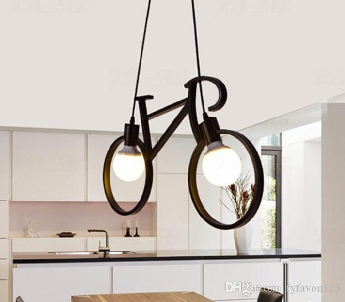 Retro Nordic Moderna Ferro Bicicletta Lampadario Cafe Illuminazione LED Loft Bar Lampada Da Soffitto Camera Da Letto Droplight Negozio Home Decor Regalo a790