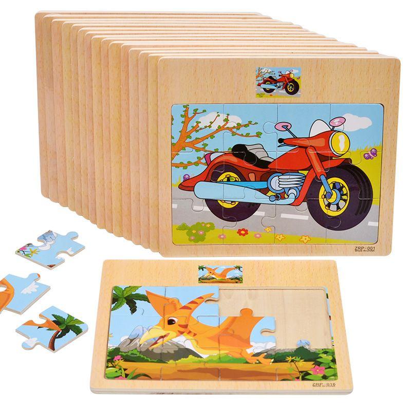 طفل 12 أجزاء لغز خشبي المرور والحيوان بانوراما التعليمية لعبة الأطفال التدريب لعبة أطفال اللعب الهدايا C5516
