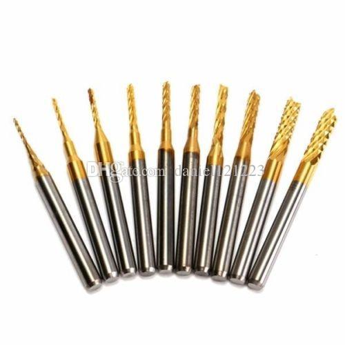 0.8 - 3 mm Titanium Coat Carbide End Mill Engraving Bits CNC Rotary Burrs Set Tool PCB