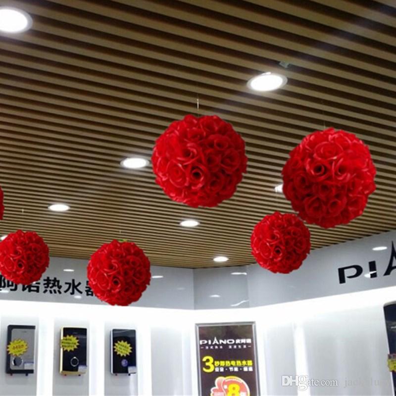 50 سم ديا أنيقة روز زهرة الكرة الاصطناعي باقة الزفاف التقبيل الكرة المركزية ديكورات أبيض أحمر أرجواني وردي أصفر في الأوراق المالية