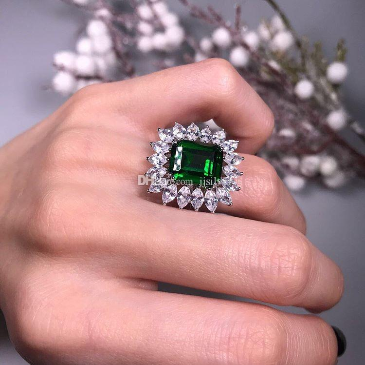 Luksusowy 4.5CT Utworzono Emerald Koktajl Pierścień 100% Real 925 Sterling Silver Pierścionki dla Kobiet Fine Jewelry Akcesoria Fine Jewelry