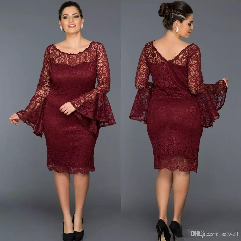 Burgundy Plus Size Lace Mother Of The Bride Dresses Long Sleeve Short  Wedding Guest Dress Knee Length Sheath Evening Prom Gowns Best Mother Of  Bride ...