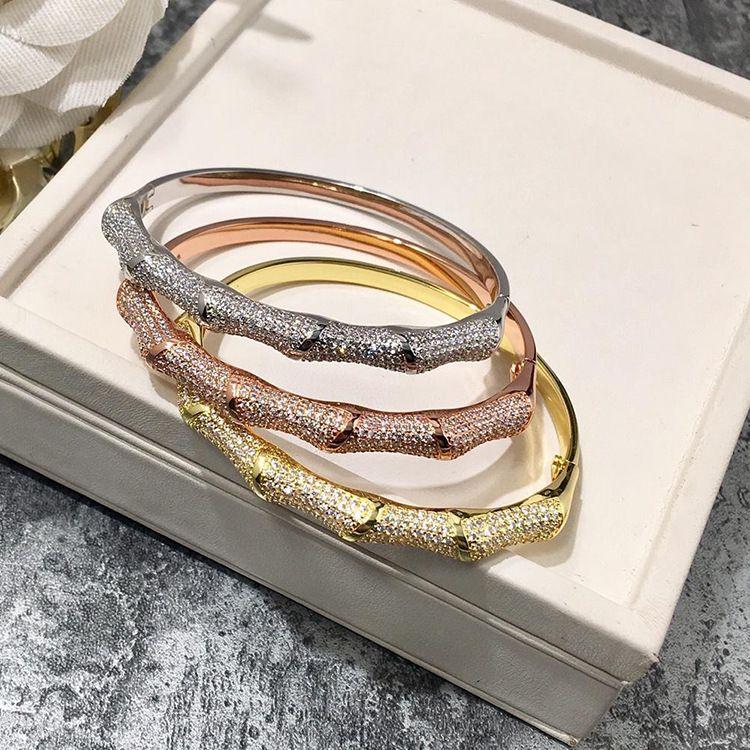 공장 가격 도매 핫 패션 여성의 팔찌 쥬얼리 유럽과 미국의 반 원 전체 다이아몬드 대나무 팔찌 팔찌