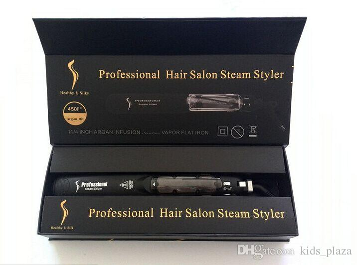 2017 New Original KangRoad Steam Piastre per capelli professionali per capelli Iron Salon Steam Styler 2 in 1 capelli Straightening Iron Flat