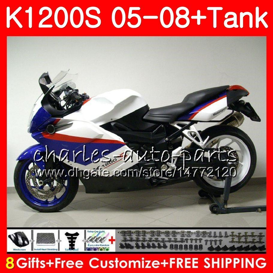 Carrocería para BMW K-1200S K 1200 S 05 10 K1200 S 05 06 07 08 09 10 103HM.38 K 1200S K1200S cuadro blanco 2005 2006 2007 2008 2009 2010 kit de carenado