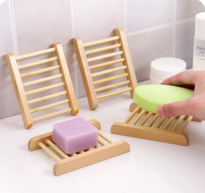 Natural Bamboo Wooden Soap Dishes Wooden Soap Tray Holder Storage Soap Rack Plate Box Container for Bath Shower Bathroom
