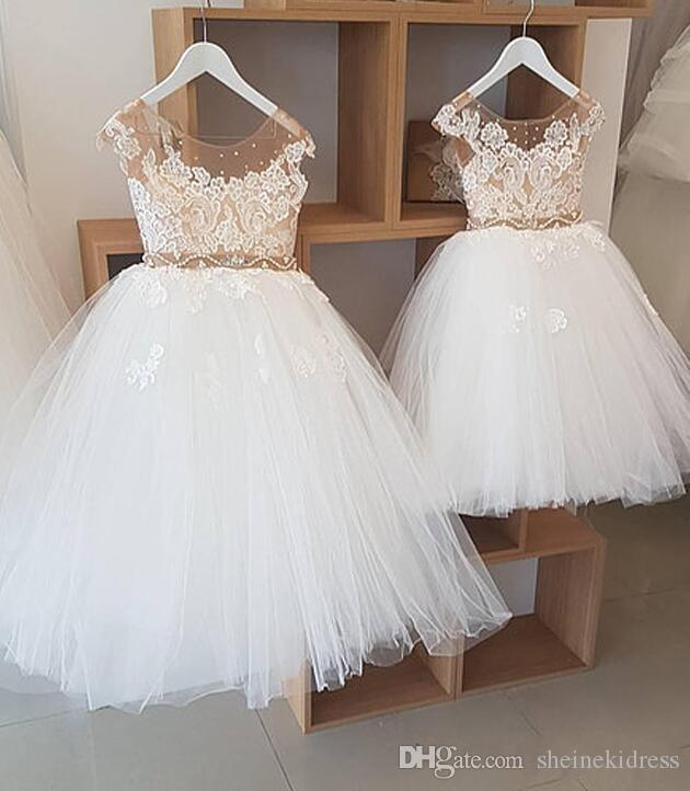 2018 Cheap Ivory Fairy Jewel Neck Ball Gown Flower Girls Dresse Tulle with Champagne Lining and sheer Sparkling Beads Girls Party Dresses