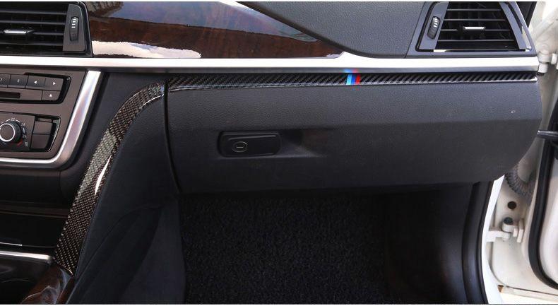 2Pcs Red ramuel Compatible with Interior Carbon Fiber Car Copilot Box Panel Cover Interior Trim Decoration for BMW 3 4 Series GT F30 F32 F34 2013 2014 2015 2016 2017
