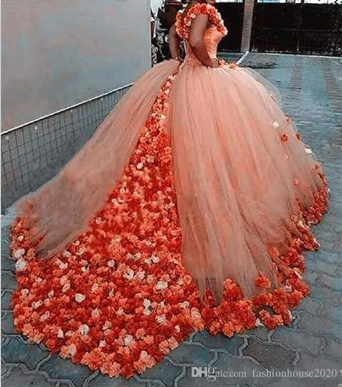 2018 Luxury Cheap Blue and Orange Quinceanera Ball Gown Dresses Off Shoulder With 3D Flowers Sweet 16 Floor Length Party Prom Evening Gowns