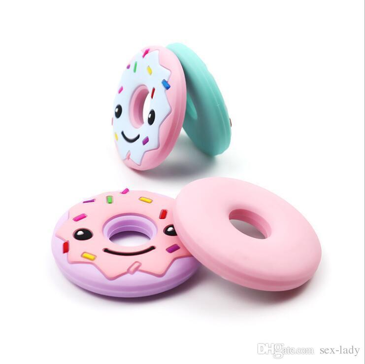 Пончик печенье Печенье силиконовые прорезыватель детские игрушки ожерелье прорезывания зубов детские прорезыватели для кормления кулон BPA бесплатно 8 цветов