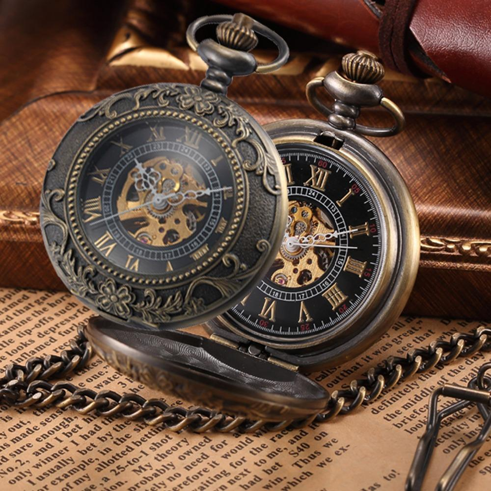 Mecánico de la vendimia de bolsillo Fob collar reloj Steampunk hombres bronce esqueleto antiguo bolsillo Fob relojes cadena reloj