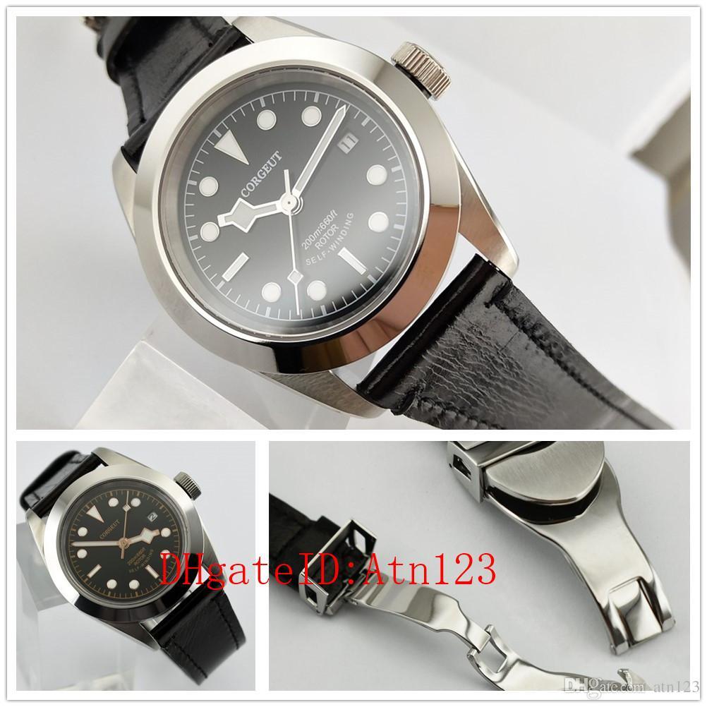 Corgeut 41mm Dial Negro Automático Mecánico Luminoso Mens Casual Reloj de pulsera 3ATM Clasificación de resistencia al agua Reloj de pulsera 2501/2506