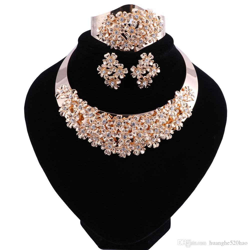 African Beads Jewelry Set Crystal Wedding Flower Necklace Earrings Set For Women Dubai Luxury Bridal Jewelry Sets