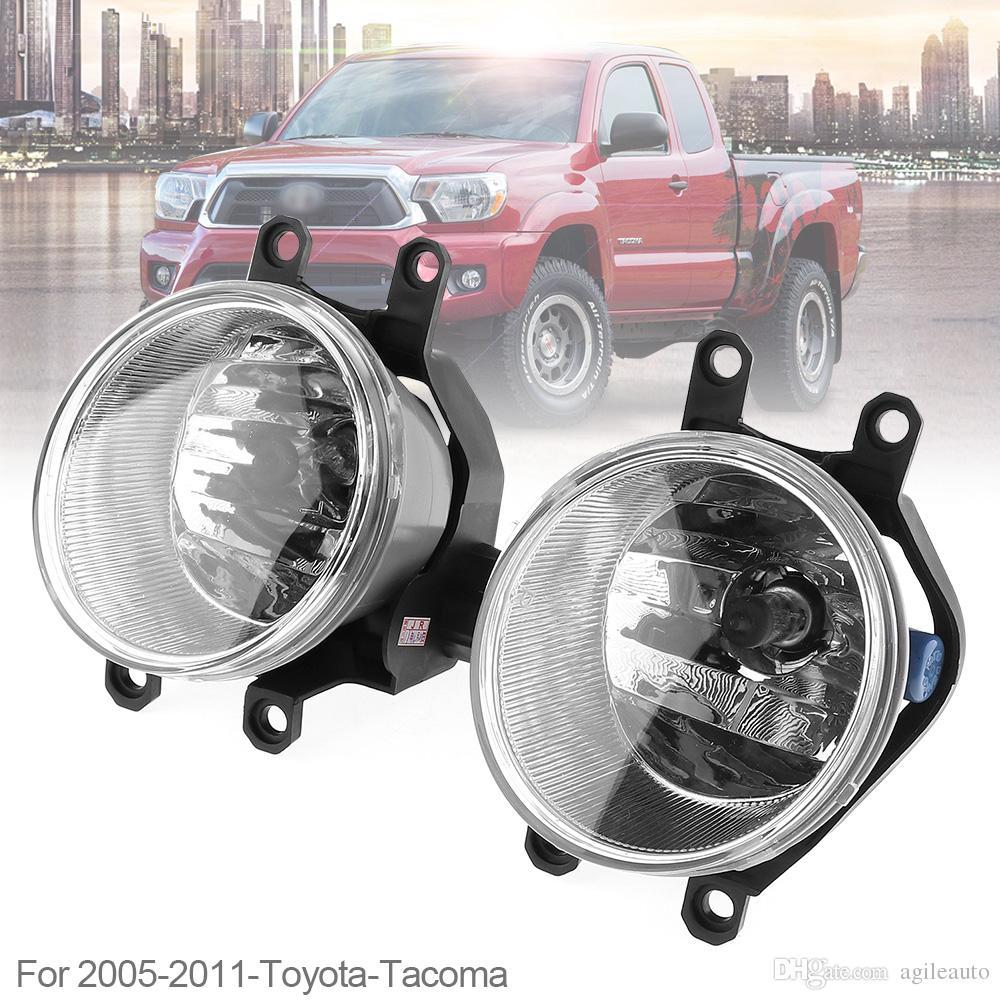 1 Pair Round Chrome Housing Clear Lens 9005 Bulb Driver & Passenger Side Fog Lamps for Toyota Tacoma 2005-2011 Fog Lamps CLT_10G