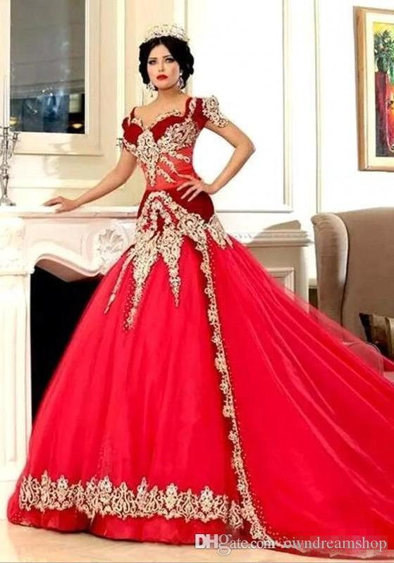 Discount Middle East Red Mermaid Wedding Dresses 2019 With Gold