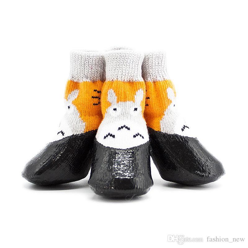 뜨거운 판매 애완 동물 강아지 부츠 양말 중간 개 방수 비 신발 비 슬립 고무 강아지 신발 무료 Dropshipping