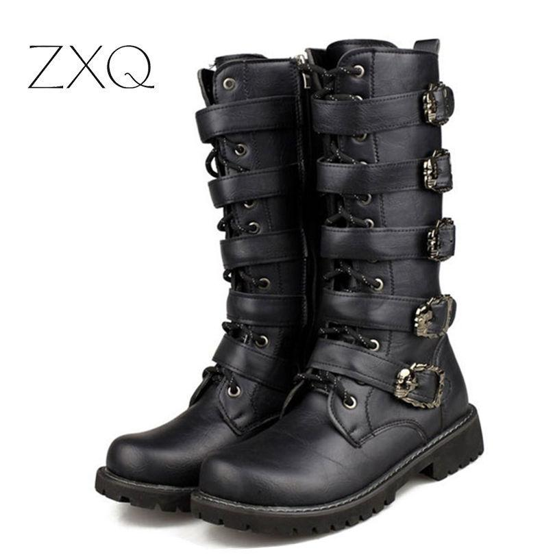 Personality Men Long Army Boots High Combat Boots Metal Buckle Punk Male Motorcycle Lace Up Men's Shoes