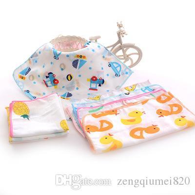 القطن منشفة الشاش ساحة طفل الفتيان المطبوعة اللعاب منشفة مزدوجة الشاش رقيقة منديل صغير الطفل منشفة منديل