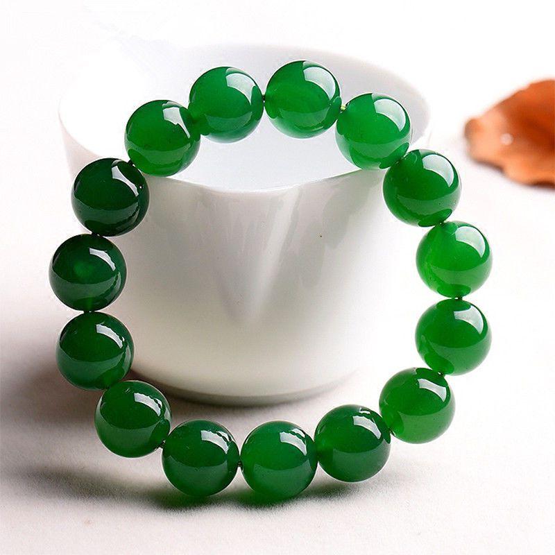 12 мм натуральный зеленый нефрит круглый драгоценный камень бисер браслет