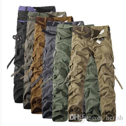 Hombres Pantalones de carga más el tamaño 28-42 Pantalones militares Army Gym Clothing Pantalones de camuflaje Marca Fashion Cargo Pants Men 6 Colors