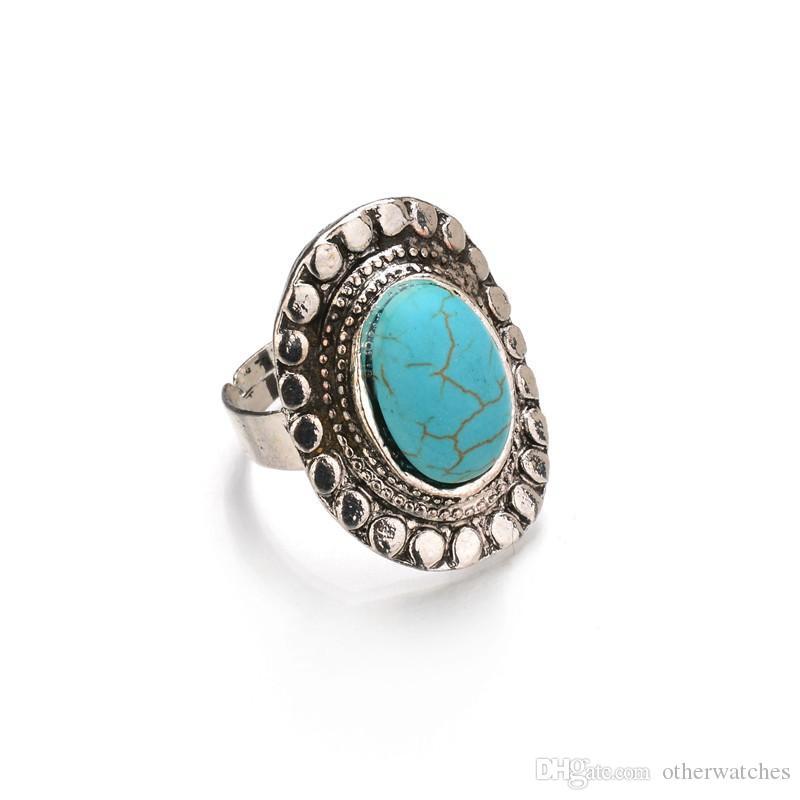 Простое чувство моды ретро Серебряные бирюзовые открытые кольца