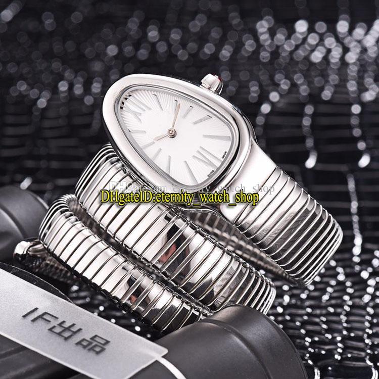 Luxry Serpenti Tubogas 101911 SP35C6SS.2t White Dial Swiss Quartz Womens Watch Stainless Steel Case Suiter Fashion Lady Designer الساعات