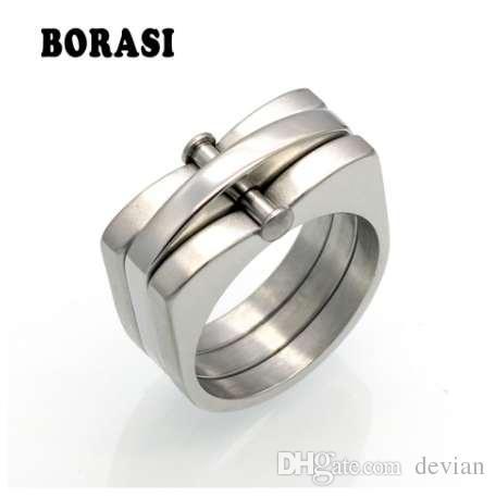 BORASI прилив бренд хип-хоп кольцо Мужчины Женщины унисекс старинные кольца из нержавеющей стали мужская мода коренастый палец Bling хип-хоп кольцо