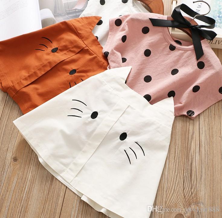 새로운 패션 여름 아기 아이 잉글랜드 스타일 사랑스러운 만화 고양이 활 도트 의류 아이들면 귀여운 스커트 세트 아기 소녀