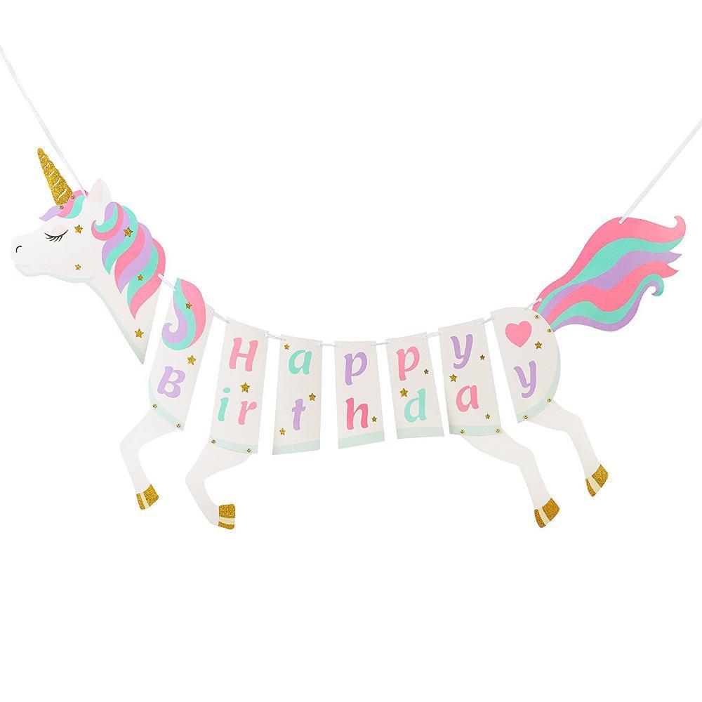 Unicórnio Feliz Aniversário Bandeira Unicórnio Fontes Do Partido Decorações Unicórnio Festa de Aniversário Pastel Design com Brilho de Ouro Glitter