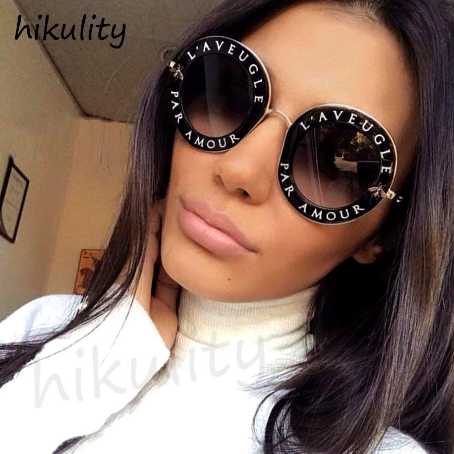 con la Carta de abeja linda ronda gafas de sol de las mujeres 2018 señoras de Sombras Negro retro de los vidrios de Sun de las lentes Mujer mujeres del marco