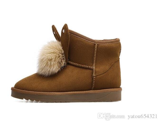 New 2018 Winter Women's Snow Boots Boots Joker Cotton Shoes Balls Rabbit Ears Short Flat Boots