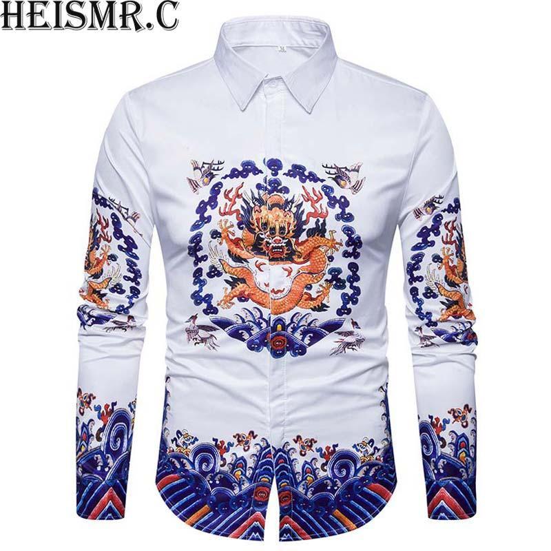 2018 رجال العلامة التجارية قميص ، 3D الصين التنين الملك طباعة القميص ، قمصان رجالية كم طويل اللباس قميص الرجل الفاخر قميص BDK98 أوم
