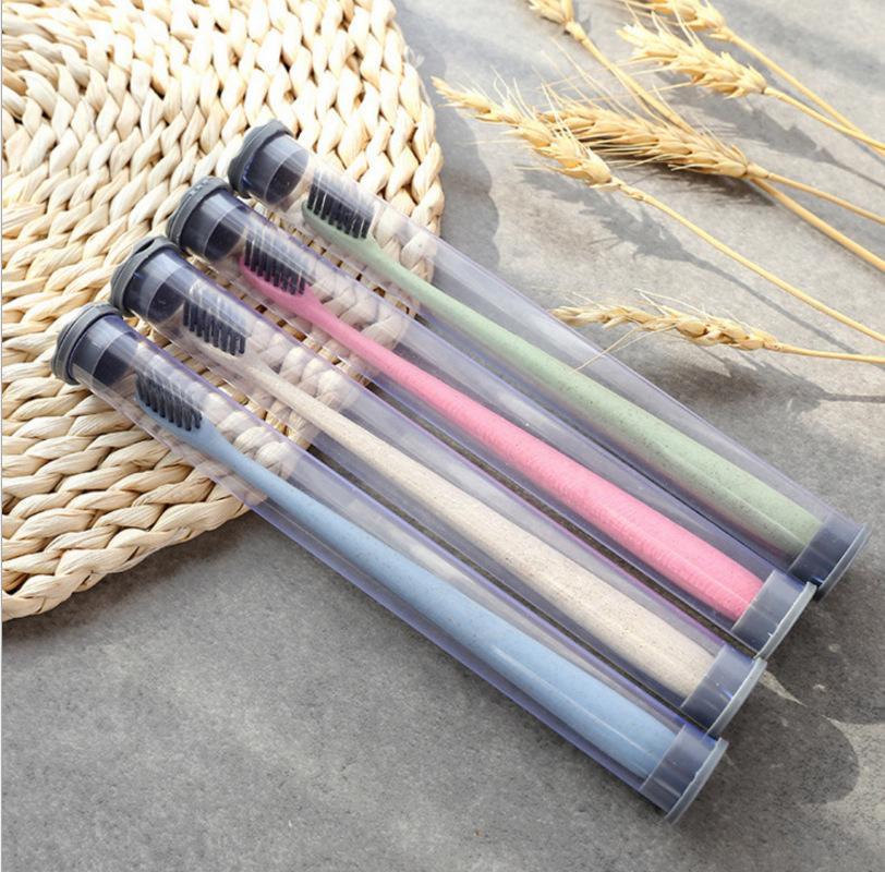 Paglia di grano verde liscia spazzolino da denti morbido portatile denti chiari carbone di legna di bambù spazzolino da viaggio paio di spazzole per adulti
