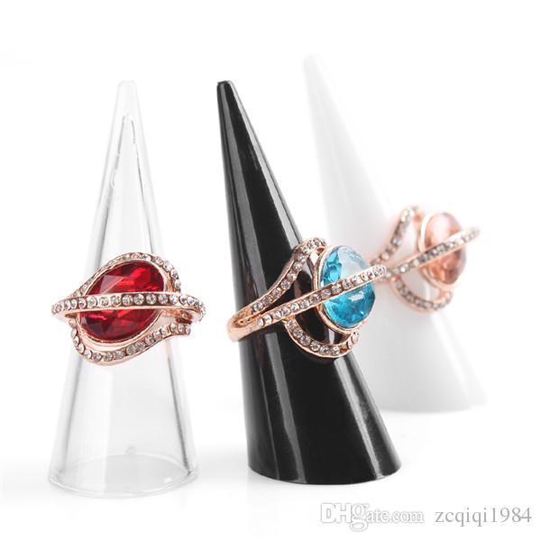 Yeni Moda Popüler Mini Akrilik Takı Parmak Yüzük Tutucu 3 renkler Üçgen koni Takı Ekran Raf