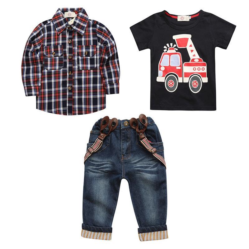 3 adet Çocuk Toddler Bebek Erkek Elbise Ceket + T-shirt + Pantolon Set Çocuklar Rahat Giysileri Kıyafetler Sonbahar Çocuk Giyim 2-7Years