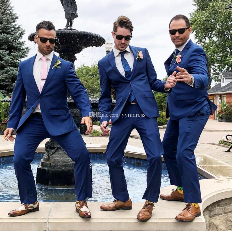 Classy Blue Wedding Tuxedos Two-Button Mens Suits Slim Fit Bridegroom For Men Two Pieces Groomsmen Suit Cheap Formal Business Jackets