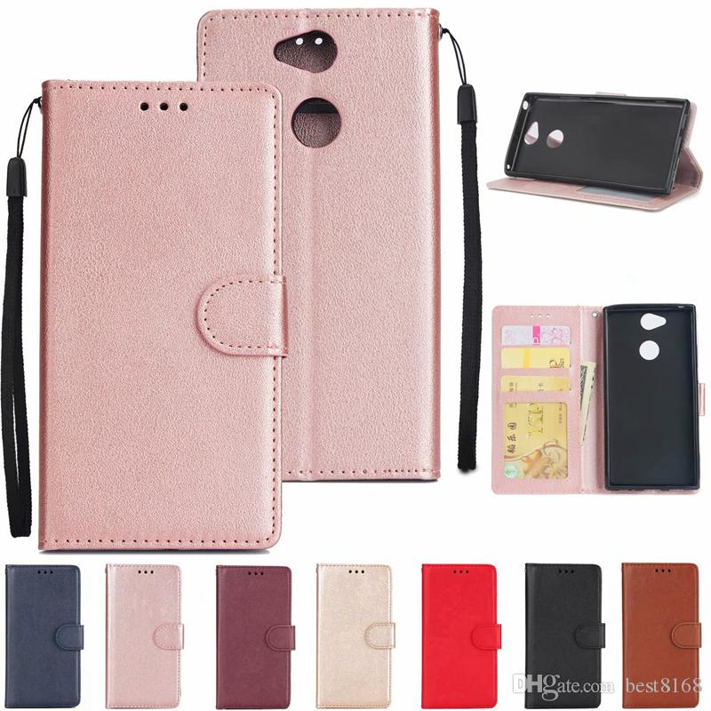 Luxury Case For Sony Xperia L2 XZ2 XA2 Ultra Compact Plain Leather Wallet Frame ID Card Slot Flip Cover Stand Rose Gold Book Pouch Strap