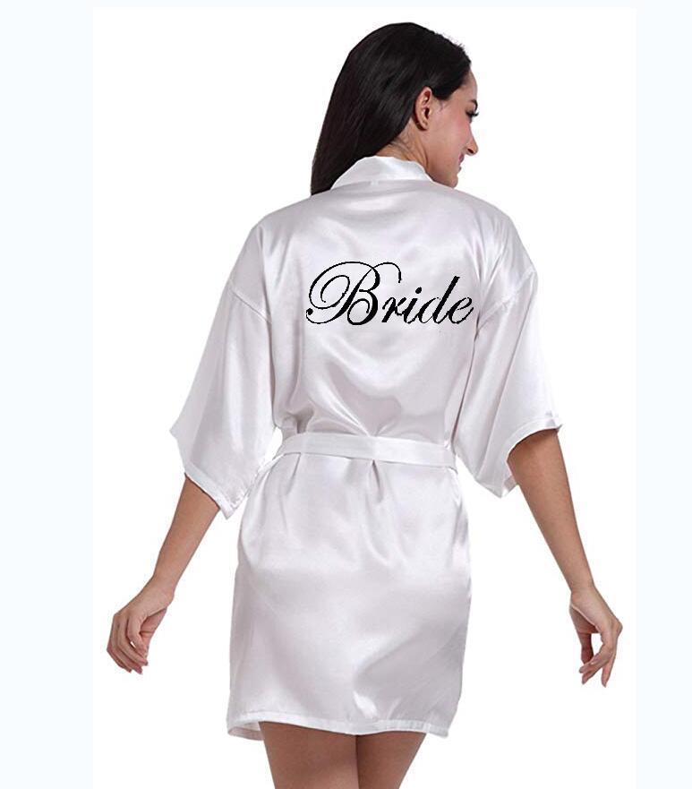 Ropa de dormir de las mujeres Personalizada Impreso Partido de novia Robas de honor Madre de la novia Groom Maid Honor Día de la boda Regalo Satén Robe