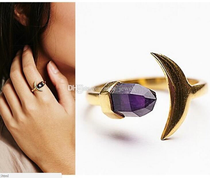 Moda Złoto Kolor Kamień Naturalny Ametyst Pierścień Sześciokątny Prism Prism Księżyc Pierścionek Dla Kobiet Biżuteria