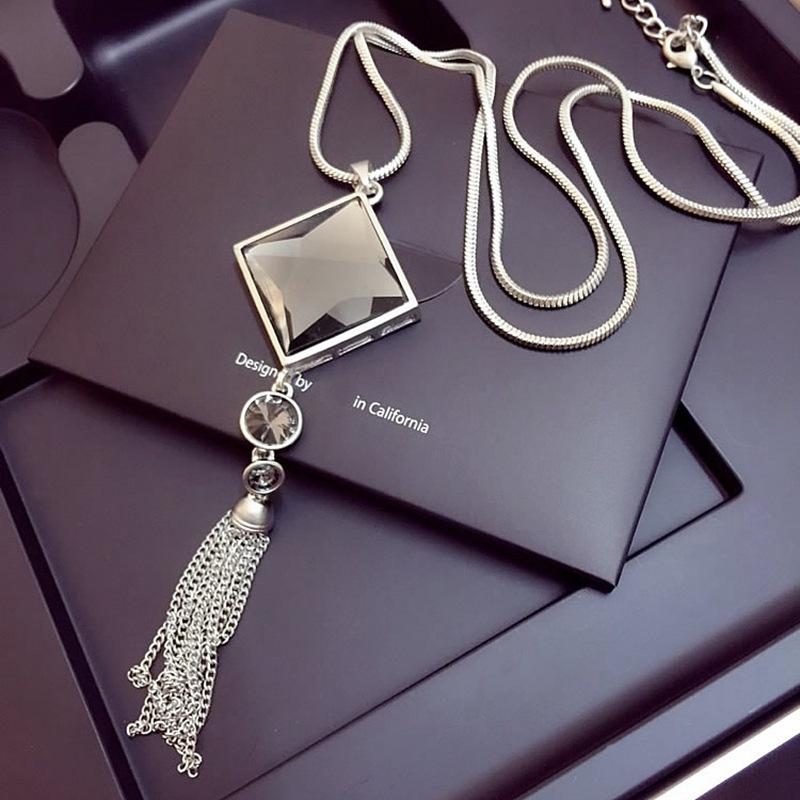 Geométrica de cristal do vintage colar de pingente elegante Cadeia Flor Tassel camisola OL longo colar jóias acessórios femininos