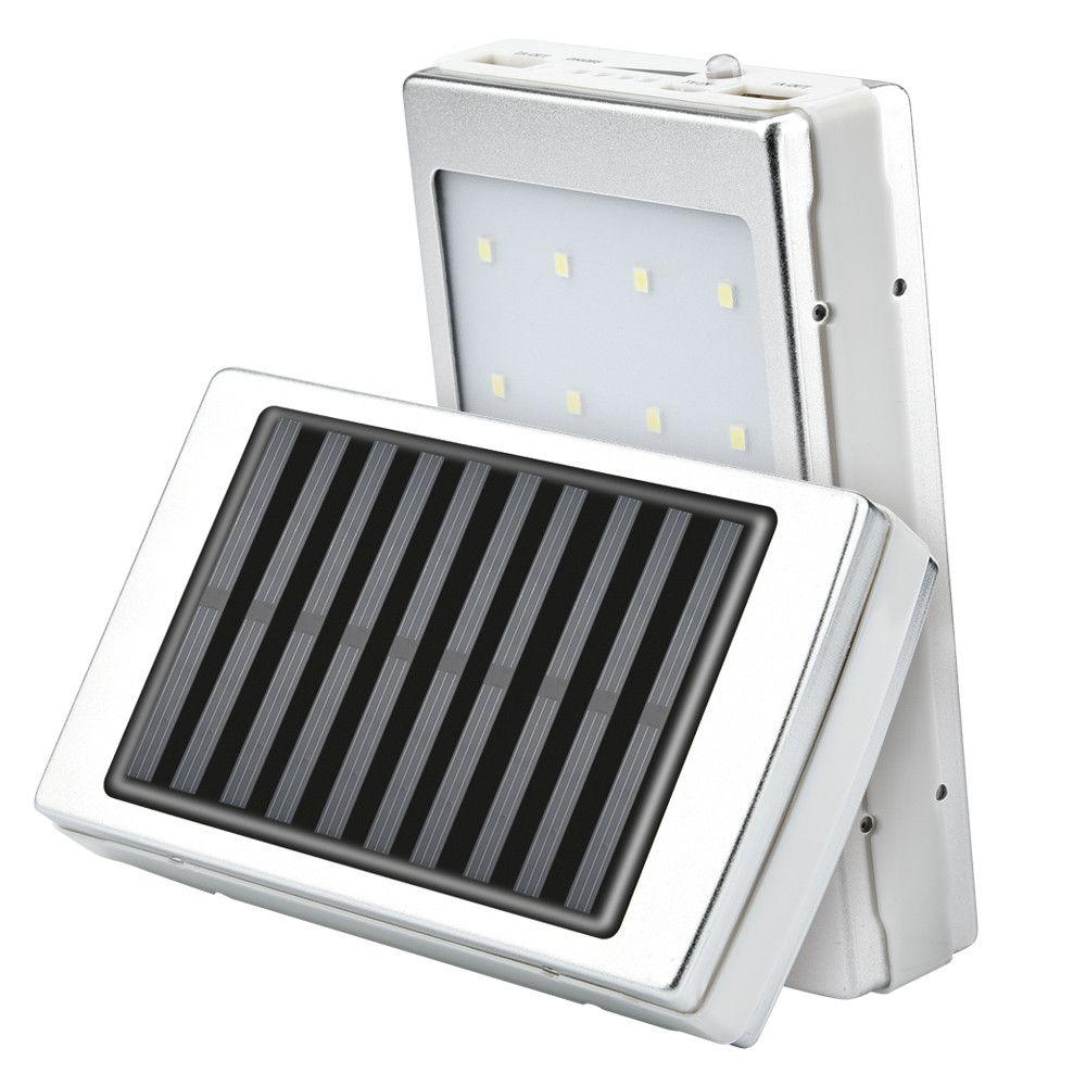LED solaire portable USB double Banque boîtier d'alimentation 5x18650 charge portable Batterie Externe Chargeur DIY Box pour téléphone poverbank externe