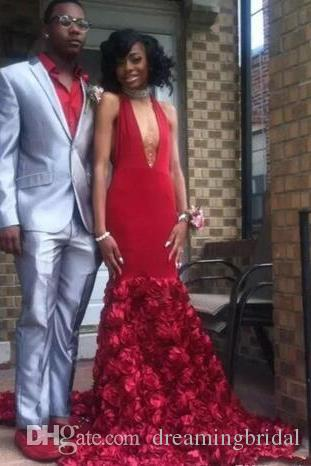 African Black Girl Open Back Meerjungfrau Abendkleider 2019 Neue Neckholder Sweep Strain Flower Sleeveless Formale Abendkleid Party Kleider