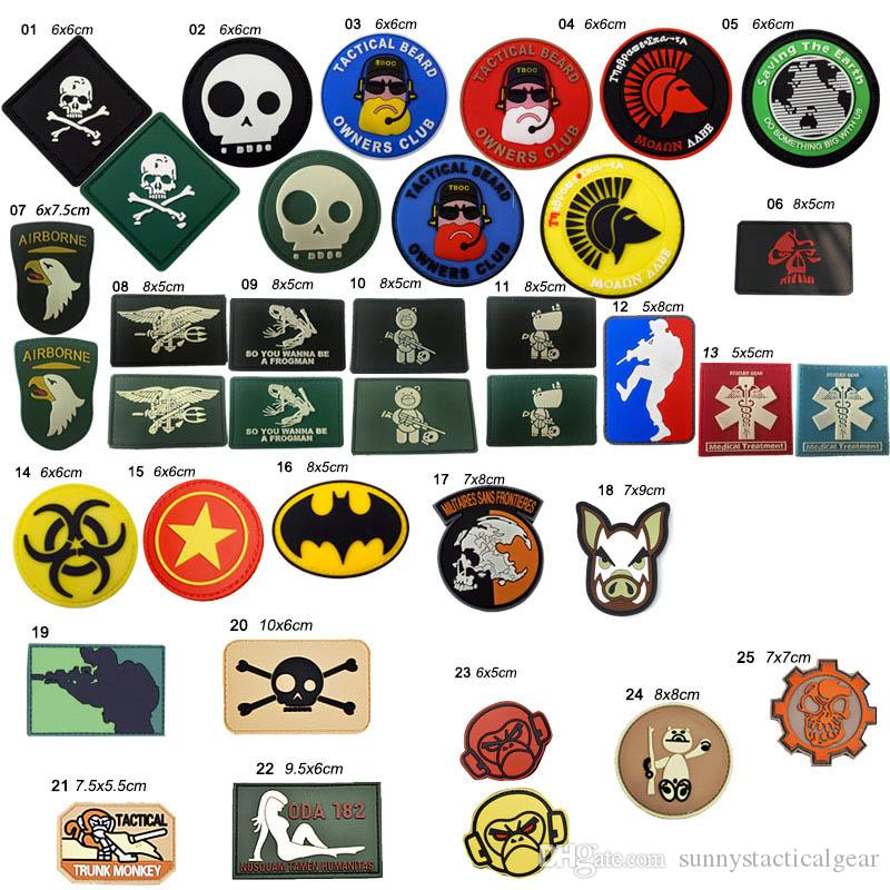 Patchs de caoutchouc tactique extérieurs Crochet et attache en boucle caoutchouc Badges en plastique Badges de brassard Stickers Tactical PVC Patch