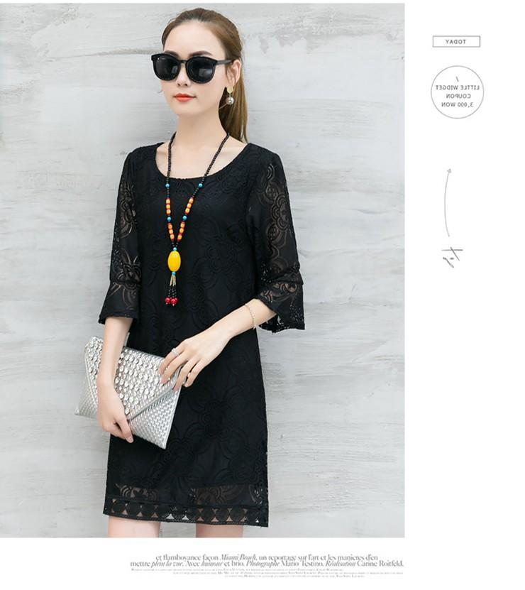 New Women Dress Summer Casual Hollow Lace Dresses Ladies Half Sleeve Vestidos Mujer Dress Plus Size White Robe Femme Mode 2018 (9)