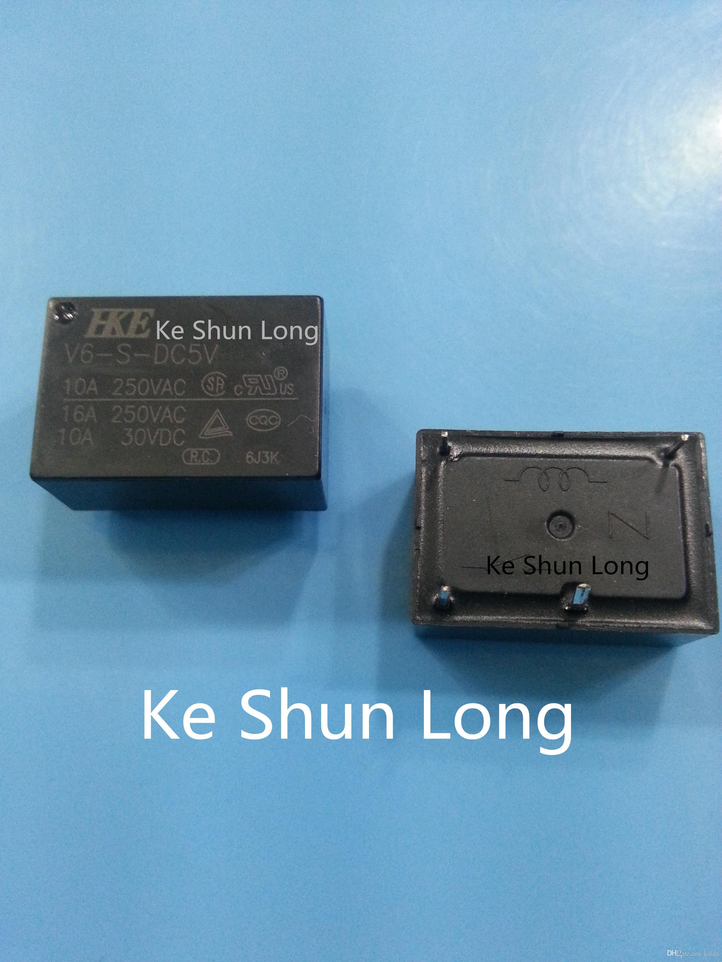 Freies Verschiffen Los (5pieces / lot) 100% ursprüngliches neues HKE V6-S-DC5V V6-S-5VDC V6-S-DC12V V6-S-12VDC V6-S-DC24V V6-S-24VDC 4PINS Leistungsrelais 10A