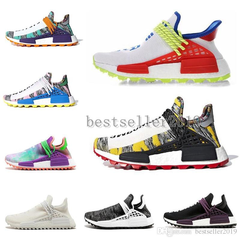 2019 Human Race Creme X PW HU NERD Solar Pack Running Shoes Pharrell Williams Afro Hu Trail Equality Women Mens Trainers Sneakers