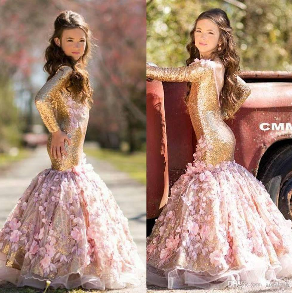 Lovely Gold Mermaid Flower Girl Dresses For Weddings Long Sleeves Sequined Little Girls Pageant Dress Appliqued Backless Communion Gowns