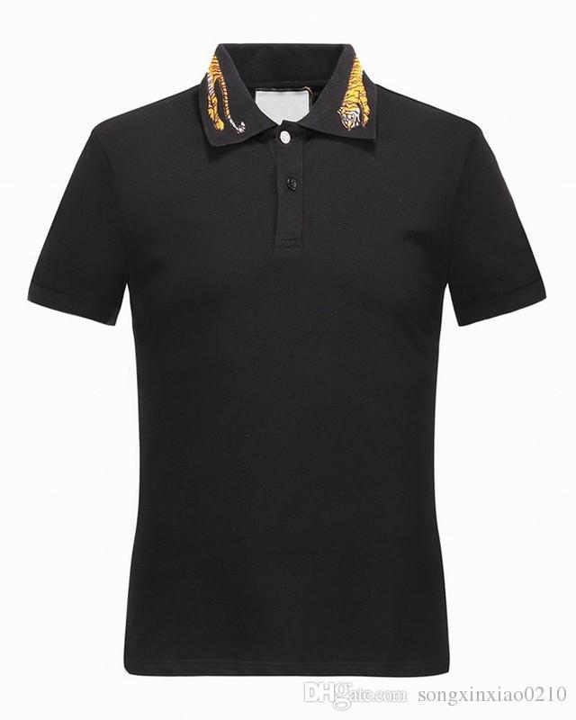 2018 Новое прибытие модельер Brand Product New Summer мужская вышитые Тигр Pattern хлопок футболки короткие с тегами высокое качество M-3XL