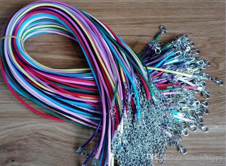 100pcs Bunte Wachs Leder Halskette Schnalle Garnelen Anhänger Schmuck Lederband Lanyard mit Kette DIY Freies Verschiffen
